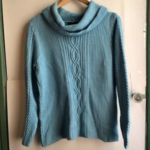 JEANNE PIERRE Blue Cable Knit Cowl Neck Sweater